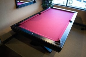 Diamond Pool Table with Red Cloth and Black Edges Games & Things-min