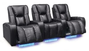 Palliser Media theater seat in black with under-mounted lighting