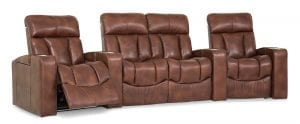 Palliser Paragon theater seating in a brown leather