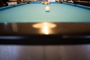 Pool Table with Aqua Cloth Low Angle at Balls Games & Things-min