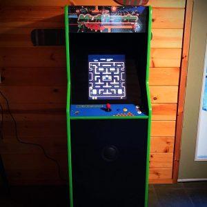 Upright Arcade Game Wood Background