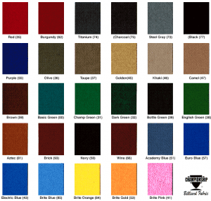 Championship Cloth Color choices