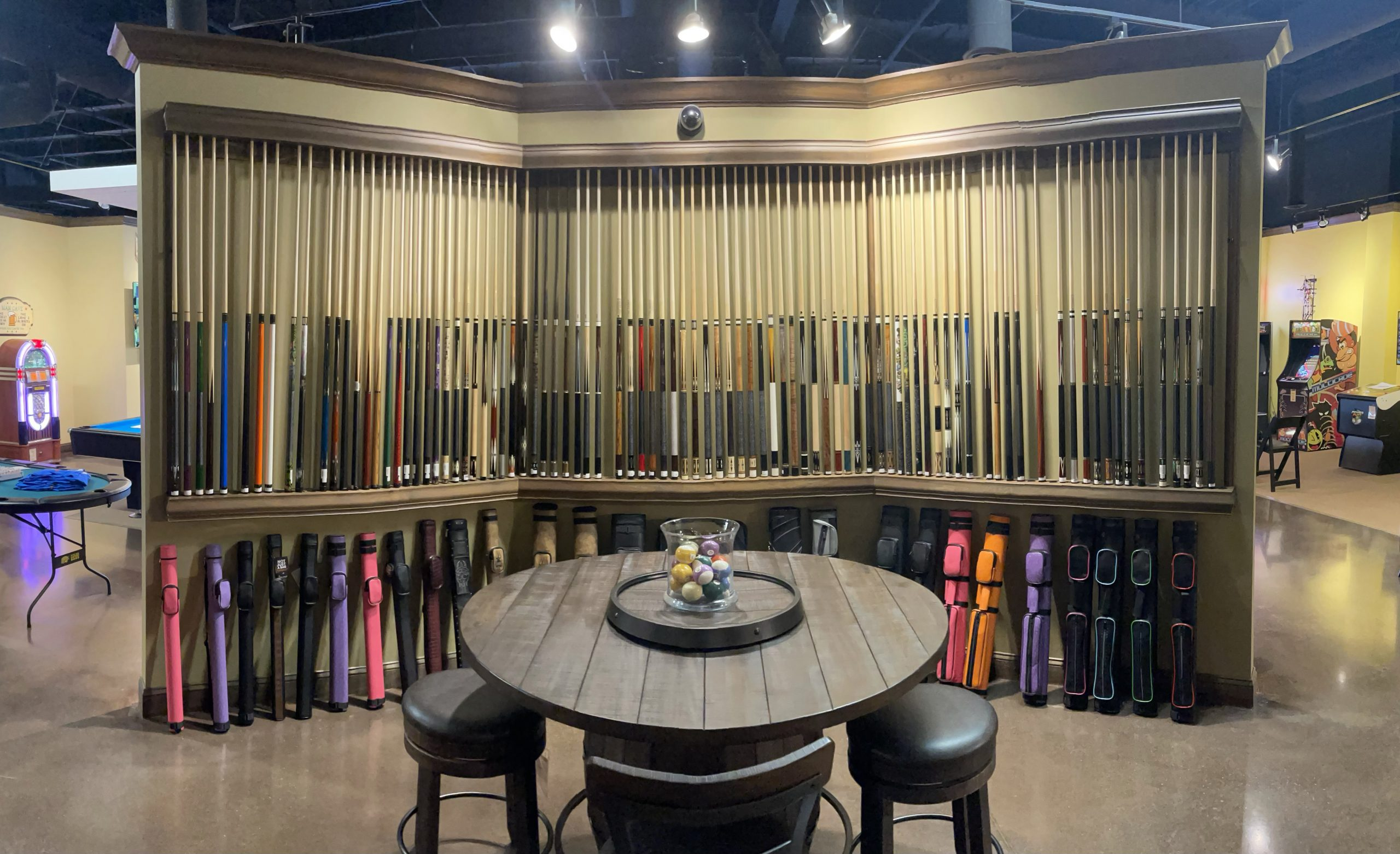 pool cue selection at Games & Things in Knoxville TN